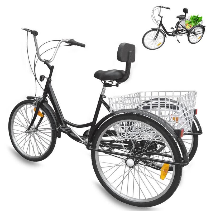 """24"""" 6 Speed 3 Wheel Bicycle Bike Adult Tricycle W/ 2 Basket"""