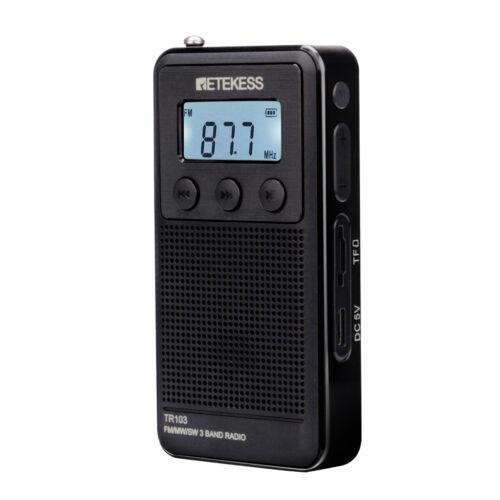 Retekess Pocket FM/MW/SW Radio Receiver MP3 Player Rechargea