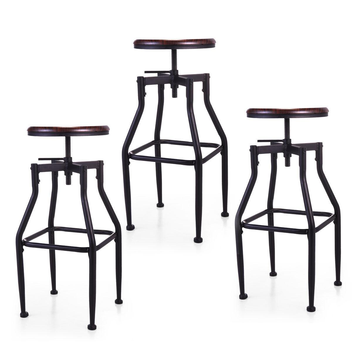 Pleasant 1 2 3 Set Height Adjustable Industrial Swivel Metal Counter Height Bar Stool Machost Co Dining Chair Design Ideas Machostcouk