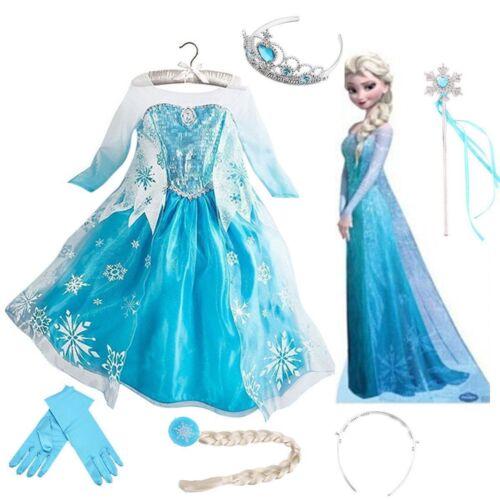 Girls Child Frozen Princess Queen Elsa Cosplay Costume Party