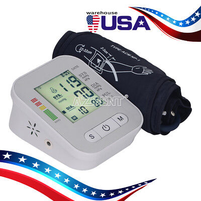 Automatic Digital Upper Arm Blood Pressure Monitor LCD Screen Heart Rate Beat...