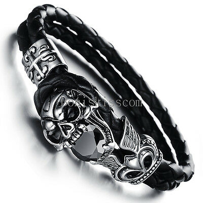 Stainless Steel Skull Fleur De Lis Cross Leather Cuff Men Bracelet Halloween Gif ()