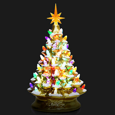 """Costway 15"""" Pre-Lit Hand-Painted Ceramic Tabletop Christmas Tree Battery Gold"""