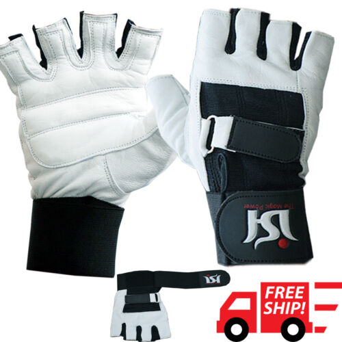 Weight Lifting Gym Training Gloves Leather Fitness Wrist Straps Support Workout