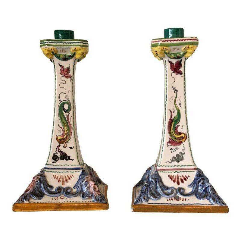 Italian Ceramic Candlesticks - A Pair