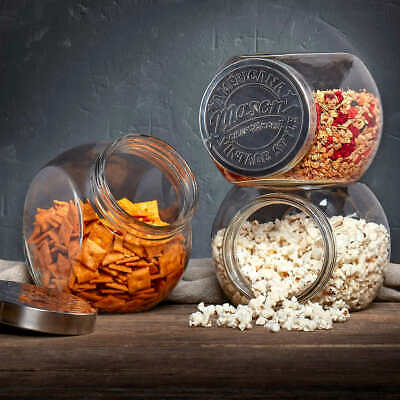 Mason Tilted Glass Jars, 3-pack Set, Food Storage, Canisters