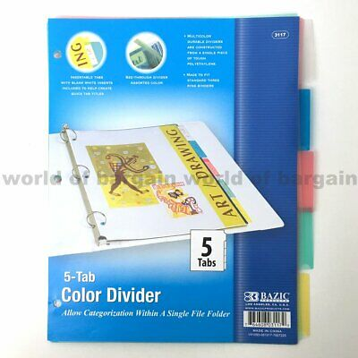 5 Tab Colored Dividers 3 Ring Binder Plastic Film File Folder Inserts Index C077