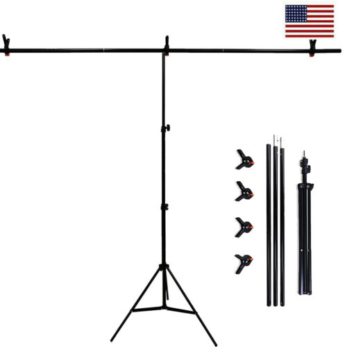 6.5x6.5ft Photo Backdrop Stand T-Shape Background Backdrops Support & Clamp Kit