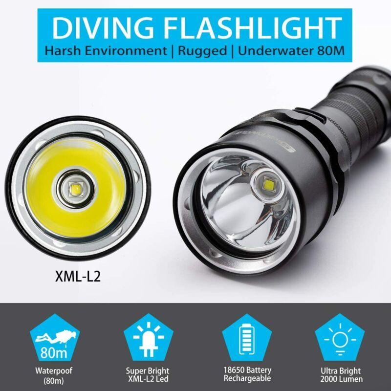 как выглядит Genwiss Scuba Diving Flashlight Dive Torch 2000 Lumen Waterproof Underwater... фото