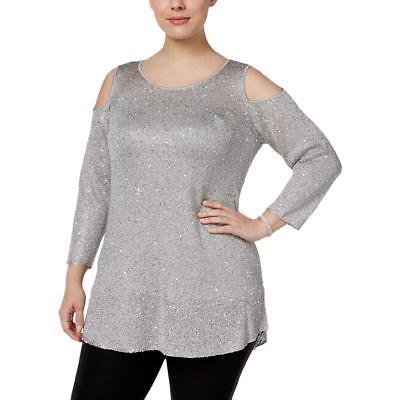 Alfani 5933 Womens Silver Metallic Sequined Pullover Top Sweater Plus 2X BHFO
