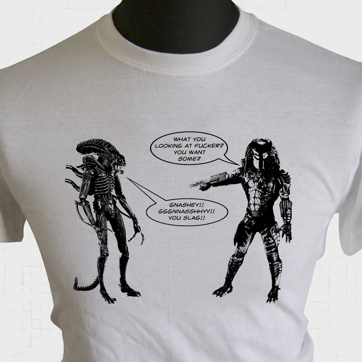 39a0b2c2b Details about Alien vs Predator Joke T Shirt Cockney Essex AVP Xenomorph  Cool Funny Tee