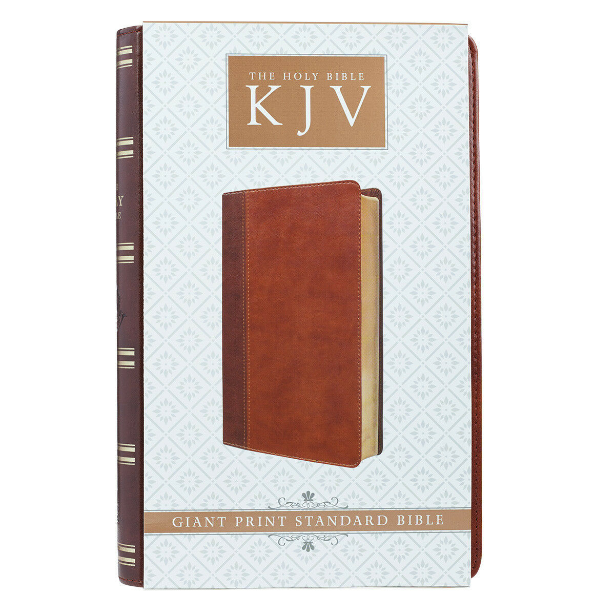 HOLY BIBLE King James Version Two-Tone Brown Large Print Red