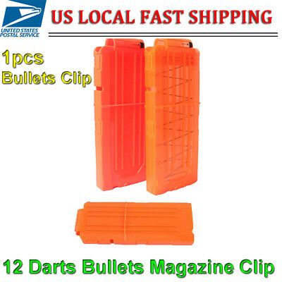 12 Darts Bullets Magazine Clip System for Nerf N-strike Elite Toy Gun Orange USA