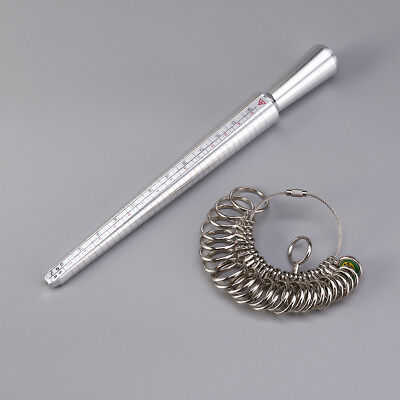 Metal Ring Sizer Guage Mandrel Finger Sizing Measure Metal Stick Standard Tool