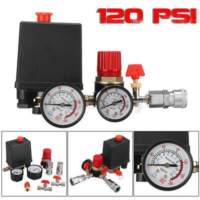 Mdurian Double Outlet Tube Alloy Air Compressor Switch Pressure Regulator Valve Pump Parts Bracket Fit Control Adjustable