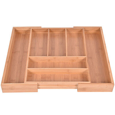 Bamboo Kitchen Drawer Organizer Expandable Tableware Storage Box Spoon Container