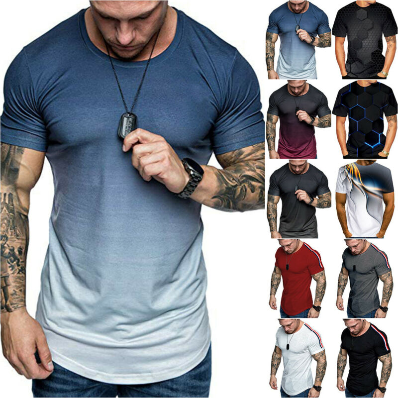 Men Short Sleeve Muscle T-Shirt Summer Casual Sports Training Blosue Shirt Top Clothing, Shoes & Accessories