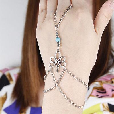 Sexy Sparkles Retro Bracelet Finger Ring Bangle Slave Chain Bracelets