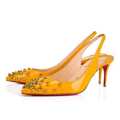 NIB Christian Louboutin Drama Sling 70 Yellow Topaz Patent Spike Heel Pump 36