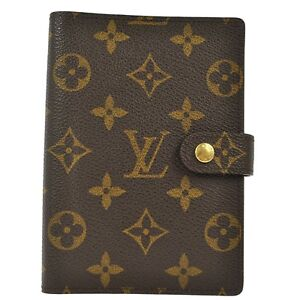 Auth-LOUIS-VUITTON-Agenda-Notebook-Cover-Monogram-Canvas-Leather-France-A03698