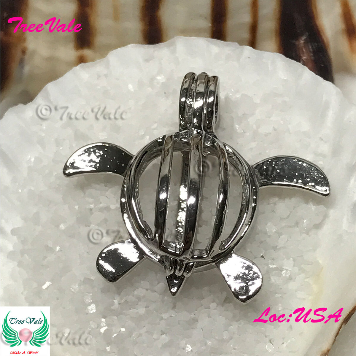 Baby Turtle - Pearl Cage Pendant -  Fun Gift