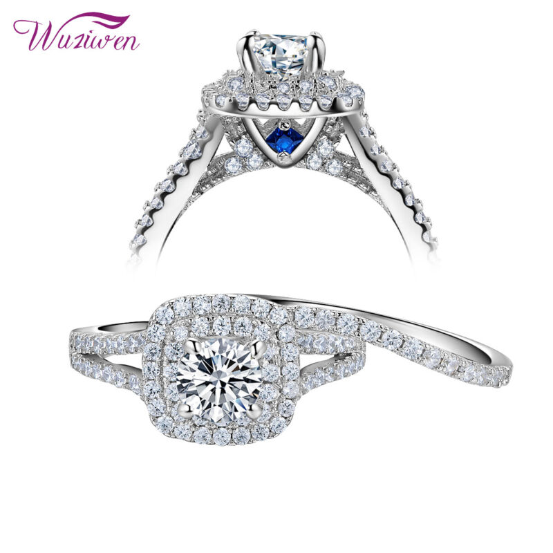 Wedding Rings Engagement Ring Set 2ct Round Cut Aaaa Cz Blue 925 Sterling Silver