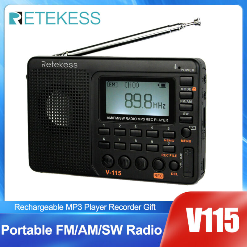 Retekess V115 Portable FM/AM/SW Radio Digital Rechargeable MP3 Player for Gift