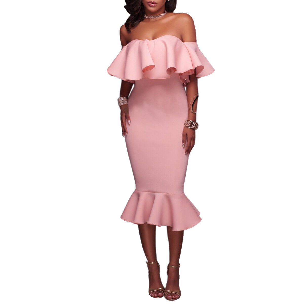 Womens Off The Shoulder Ruffle Evening Party Cocktail Bodycon ...