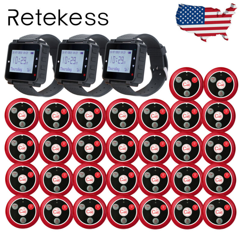 Retekess Wireless Restaurant Pager System 3*Watch Receiver+30*Call Buttons Bar