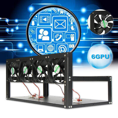 6 Gpu Mining Rig Steel Stackable Case   4 Fans Open Air Frame Eth Zec Bitcoin