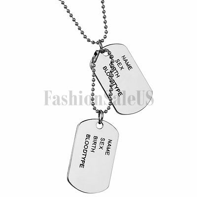 Men Alloy Double Blank Military 2 ID Dog Tags Pendant Necklace Chain DIY Engrave](Military Dog Tags For Men)