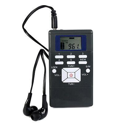 (Portable DSP Stereo FM Radio Digital Tuning Clock Receiver W/Earphones LCD US)