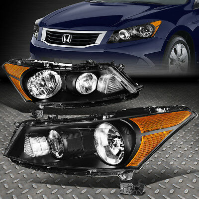FOR 2008 2012 HONDA ACCORD PAIR BLACK HOUSING AMBER CORNER HEADLIGHTLAMP SET