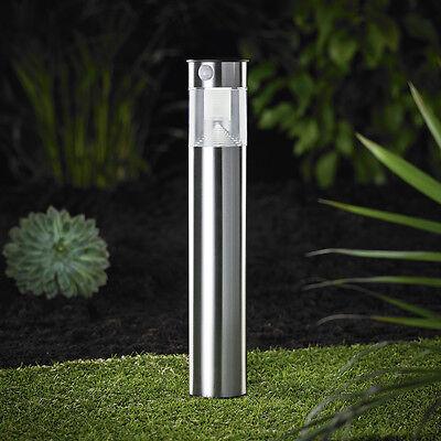 LED Solarlampe Stand Leuchte Gartenlampe mit Bewegungsmelder Edelstahl 50cm SO31
