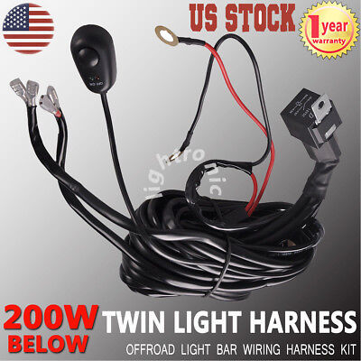 Wiring Harness Kit With Fuse Switch Relay Offroad Light Bar Dual LED TWIN lights