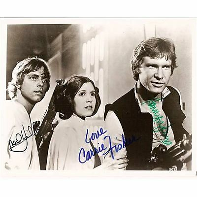 Star Wars Cast ++ Autogramm ++ Mark Hamill Harrison Ford Carrie Fisher Autograph