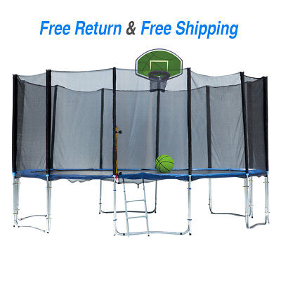 15' Round Trampoline with Green Basketball Hoop Best kids Gift for (Best Trampoline Basketball Hoop)