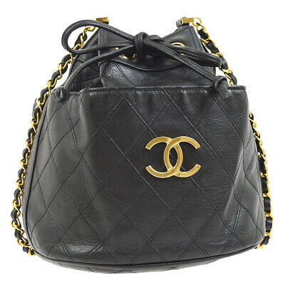 CHANEL Cosmos Quilted Drawstring Chain Shoulder Bag Black Leather AK31821f