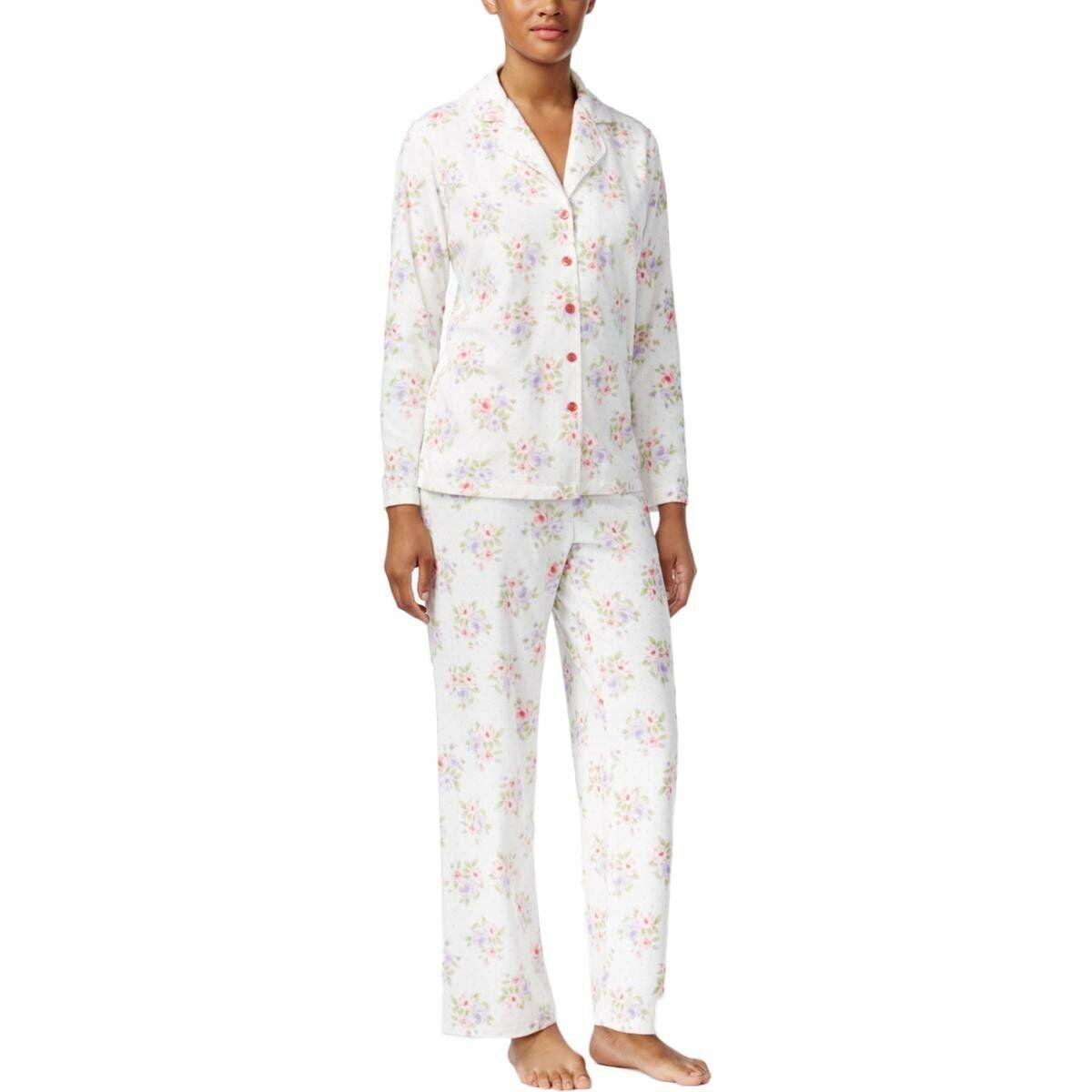 75864e02f62a Charter Club Plus Size Printed Fleece Pajama Set Ivory Roses XXXL