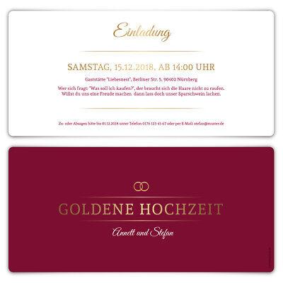 Goldene Hochzeit Einladungskarten Goldhochzeit 50 Jahre - Burgunder Gold (Burgund Hochzeit Einladungen)