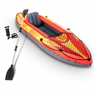 - 9ft Goplus 1-Person Inflatable Canoe Boat Kayak Set W/ Pump Paddle Water Sport