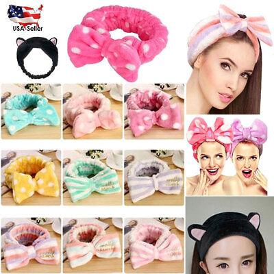 Facial Wash Face Bath Shower Makeup Spa Big Bow Cat Ear Hair Headband Soft (Guy Facial)
