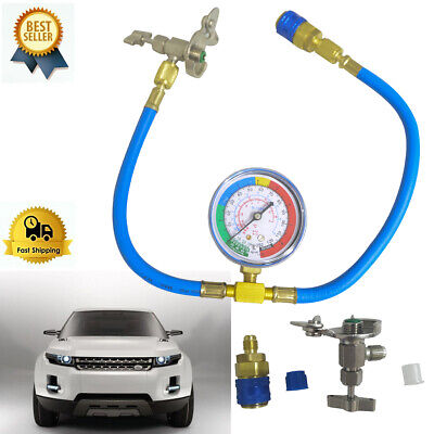 Car Air Conditioning AC R134A Refrigerant Recharge Measuring Hose with Gauge UK