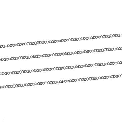 3 Metres Silver Plated Fine Curb Chain Soldered Link Size 1.5mm x 1mm J81234