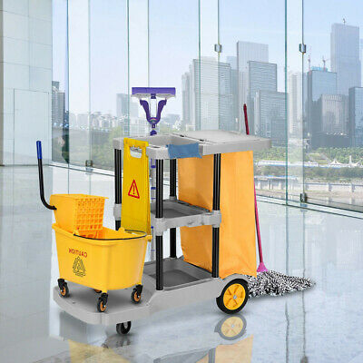 Commercial Janitorial Cleaning Cart 3 Shelf Housekeeping Ultility Iron Frame Mop