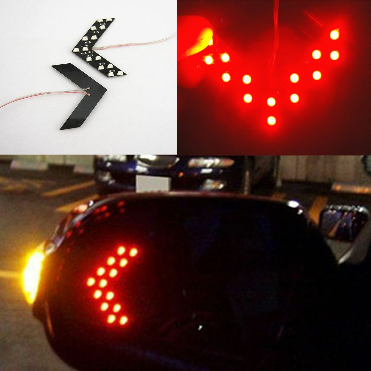 2X Red Arrow Indicator 14SMD LED Car Side Mirror Turn Signal Light For  Infiniti