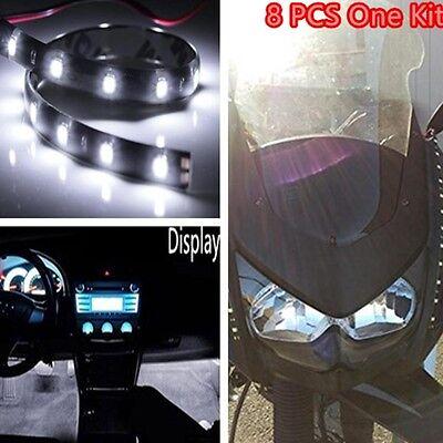 Car Light Strip Interior Atmosphere Footwell Floor Light 15 LED Universal White