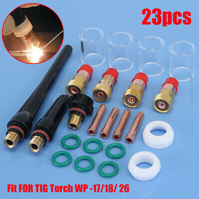 23pcs Tig Welding Torch Gas Lens Parts Pyrex Cup Kit For Wp Tungsten Wp-171826