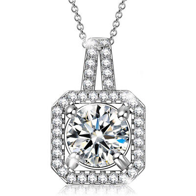 Frozen Snow-Flake 18K White Gold Plated  Cubic Zirconia Flower Pendant Necklace