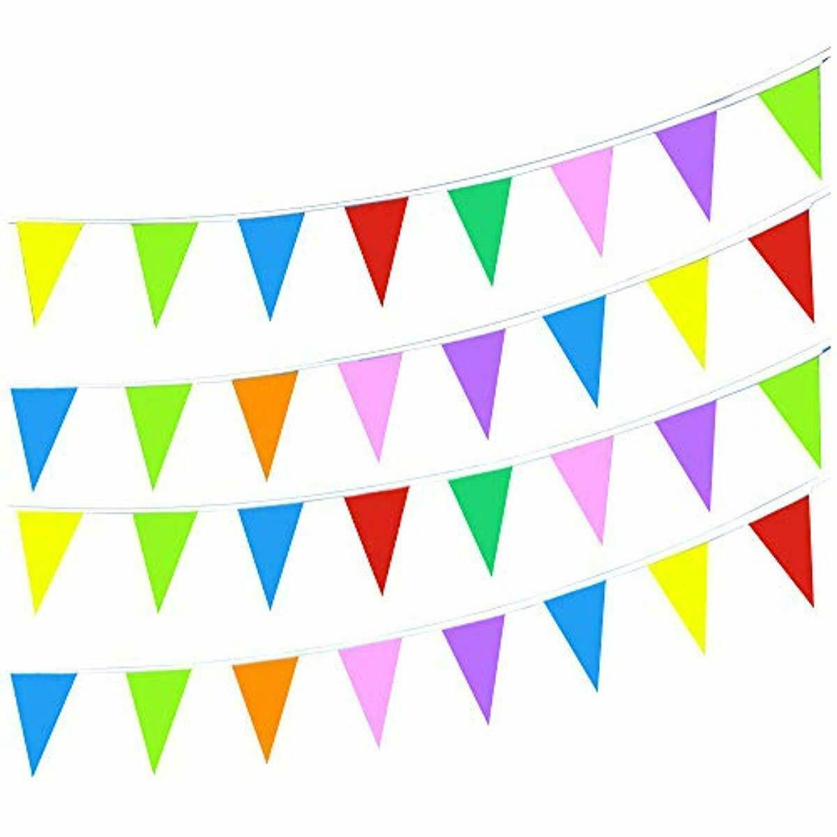 100 Foot Long Multicolored Plastic Pennant Party Rainbow String Curtain Banner /&
